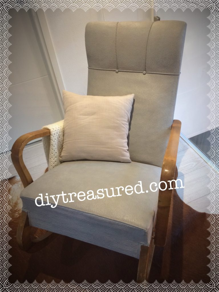 Fabric of the chair painted with chalk paint