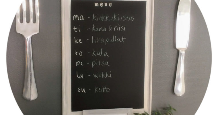 Menu board for weekly meals