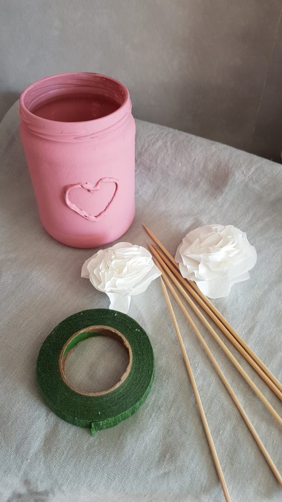 mason jar vase and paper flowers diy