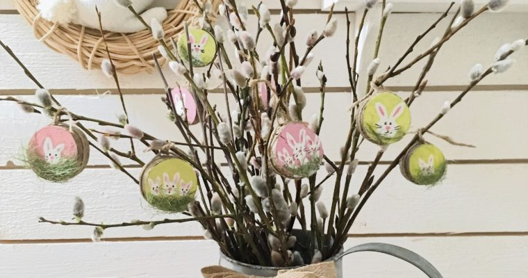 Easter decor with wood slices