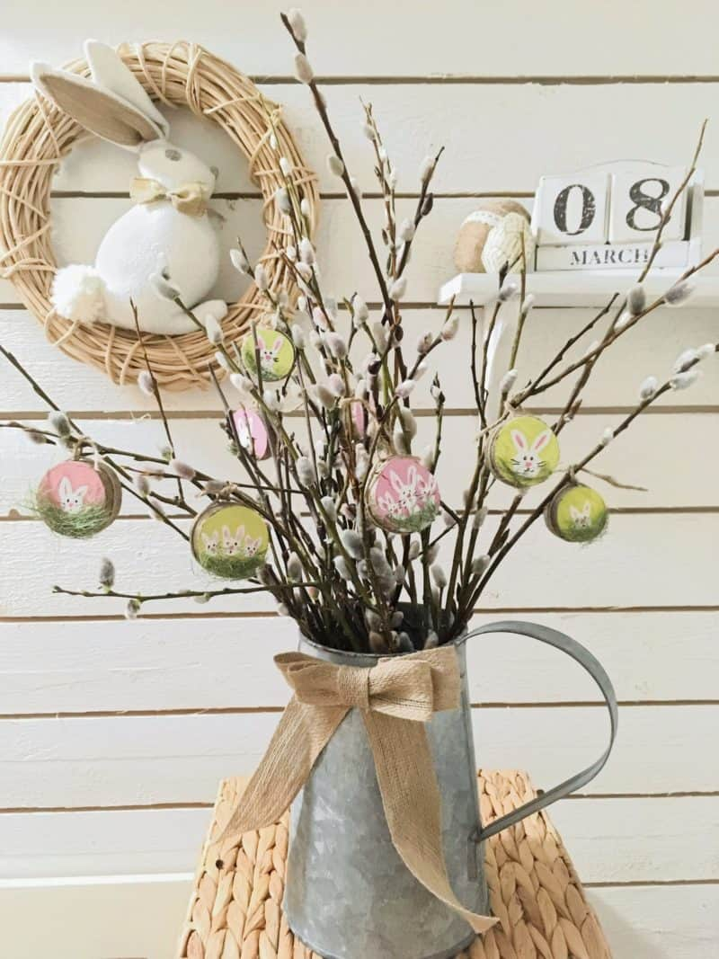 Wood slice Easter decor
